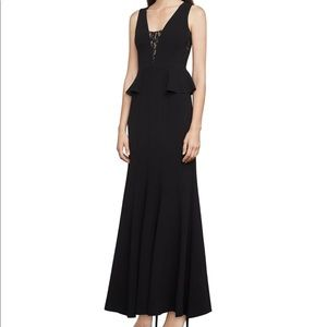 BCBG long black dress with lace inserts and peplum